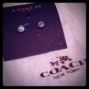 Silver-tone Coach Stud Earrings